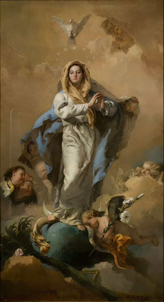 1200px The Immaculate Conception by Giovanni Battista Tiepolo from Prado in Google Earth 557x1024 - 8 de diciembre: La Inmaculada Concepción