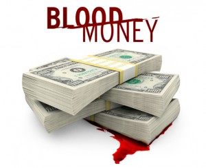 Vista parcial de la portada del documental Blood-Money