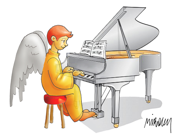 Ángel y piano